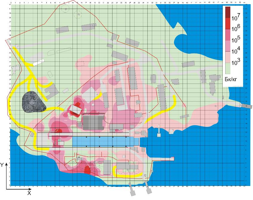 Рис 2 распределение активности грунта
