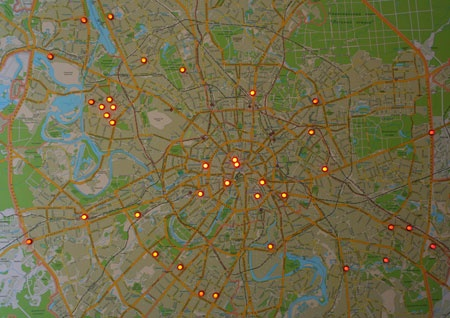 Места расположения приборов радиационного контроля в Москве